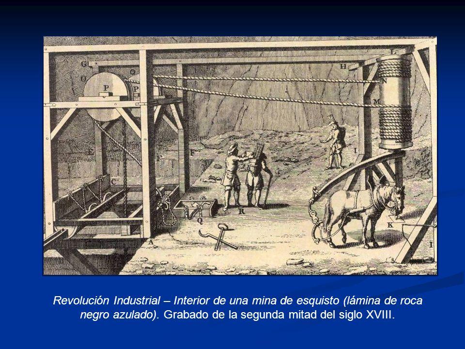 Revolución Industrial – Interior de una mina de esquisto (lámina de roca negro azulado). Grabado de la segunda mitad del siglo XVIII.