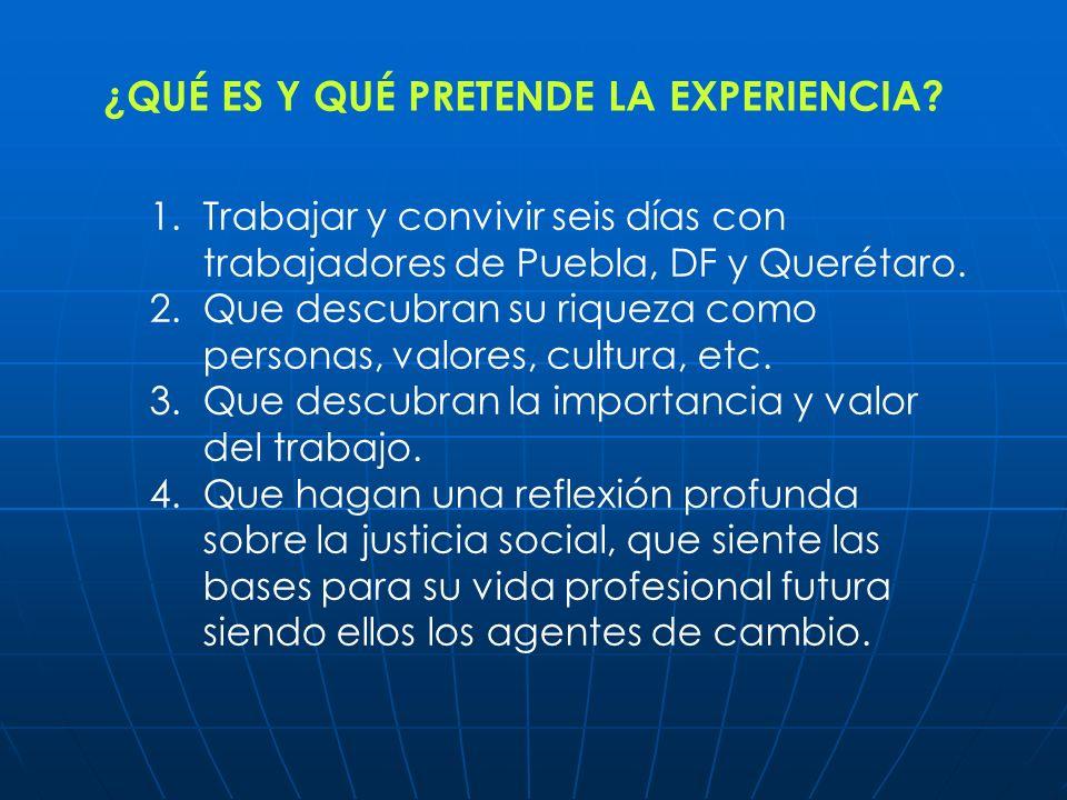 1.Trabajar y convivir seis días con trabajadores de Puebla, DF y Querétaro. 2.Que descubran su riqueza como personas, valores, cultura, etc. 3.Que des