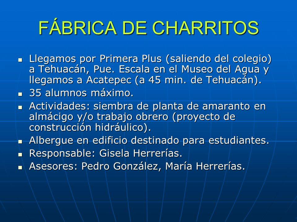 FÁBRICA DE CHARRITOS Llegamos por Primera Plus (saliendo del colegio) a Tehuacán, Pue. Escala en el Museo del Agua y llegamos a Acatepec (a 45 min. de