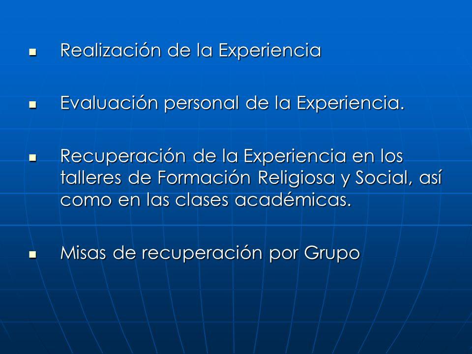 Realización de la Experiencia Realización de la Experiencia Evaluación personal de la Experiencia. Evaluación personal de la Experiencia. Recuperación