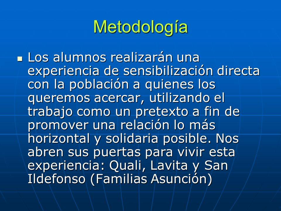 Metodología Los alumnos realizarán una experiencia de sensibilización directa con la población a quienes los queremos acercar, utilizando el trabajo c