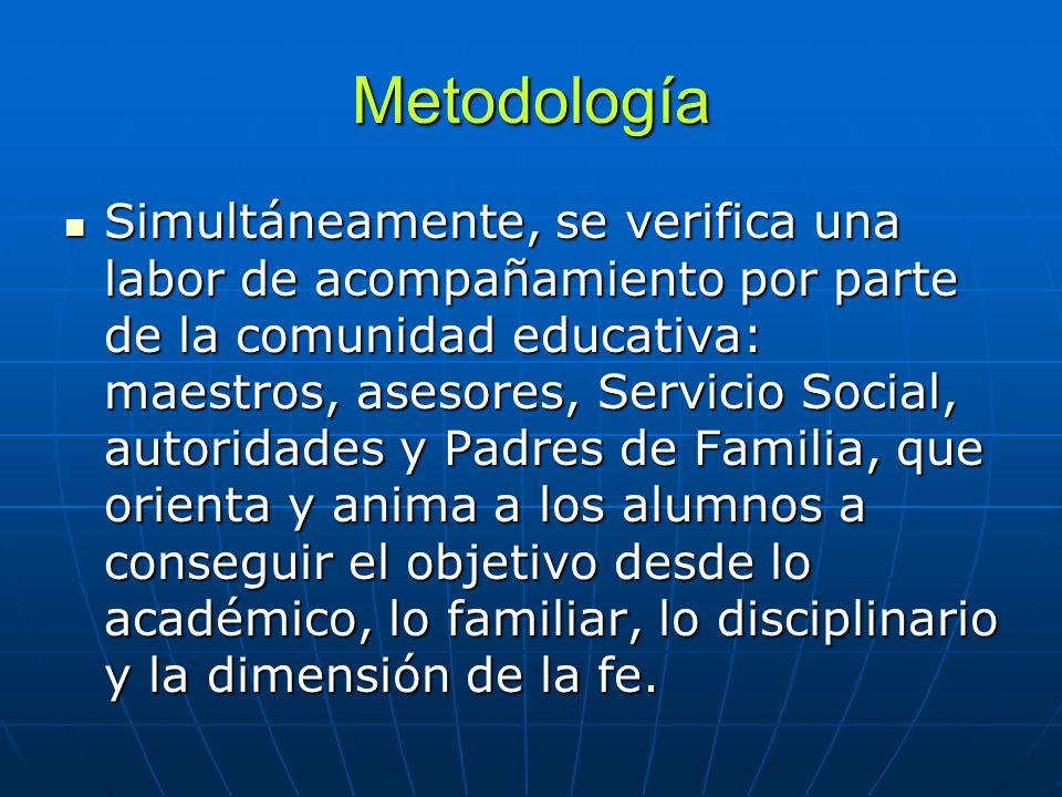 Metodología Simultáneamente, se verifica una labor de acompañamiento por parte de la comunidad educativa: maestros, asesores, Servicio Social, autorid