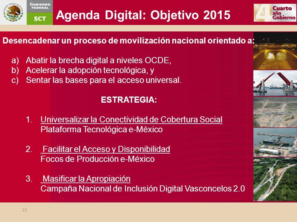 Agenda Digital: Objetivo 2015 Desencadenar un proceso de movilización nacional orientado a: a)Abatir la brecha digital a niveles OCDE, b)Acelerar la a