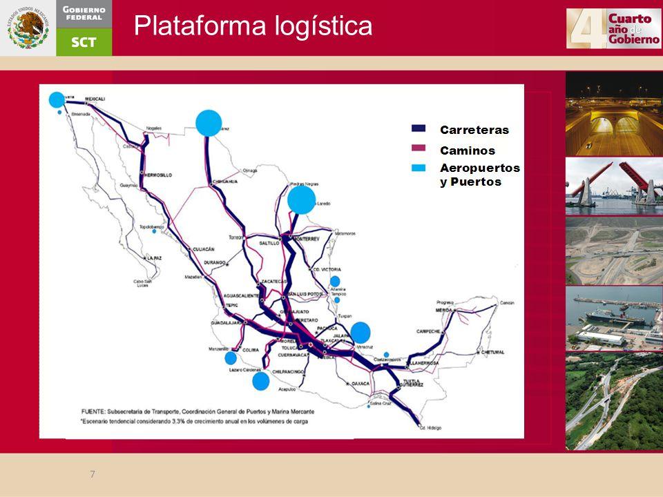 Ferrocarriles Seguridad ferroviaria y programas de integración urbana: –Se han construido 21 pasos a desnivel (entre los más importantes se encuentran los que se ubican en los municipios de Orizaba, Río Blanco, Nogales y Camerino Z.