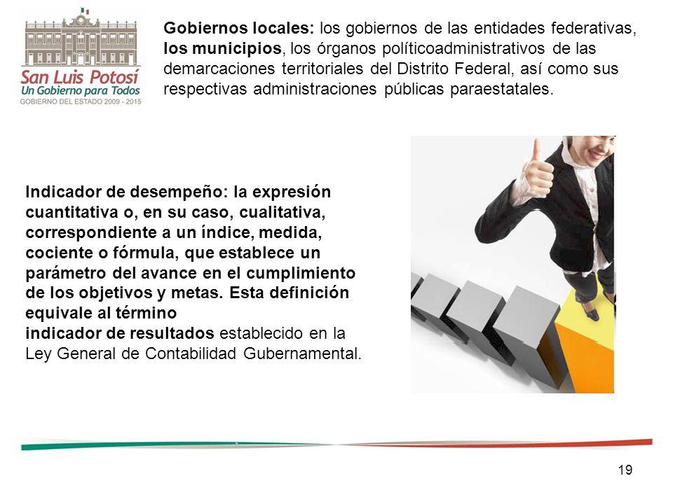 19 Gobiernos locales: los gobiernos de las entidades federativas, los municipios, los órganos políticoadministrativos de las demarcaciones territorial
