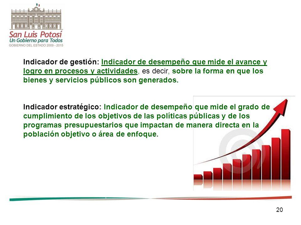 20 Indicador de gestión: Indicador de desempeño que mide el avance y logro en procesos y actividades, es decir, sobre la forma en que los bienes y ser