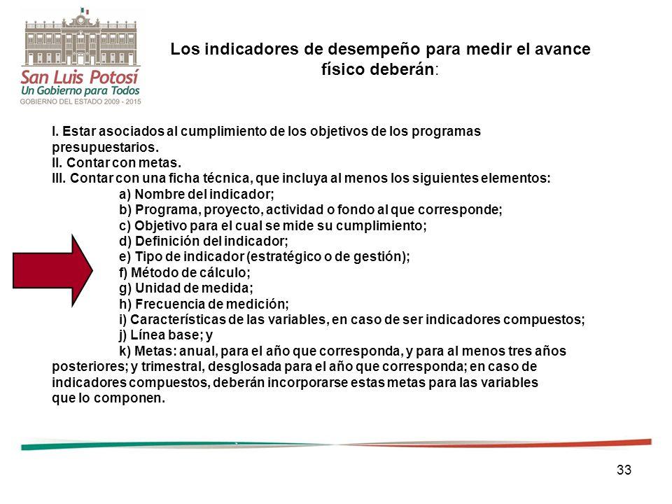 33 I. Estar asociados al cumplimiento de los objetivos de los programas presupuestarios. II. Contar con metas. III. Contar con una ficha técnica, que