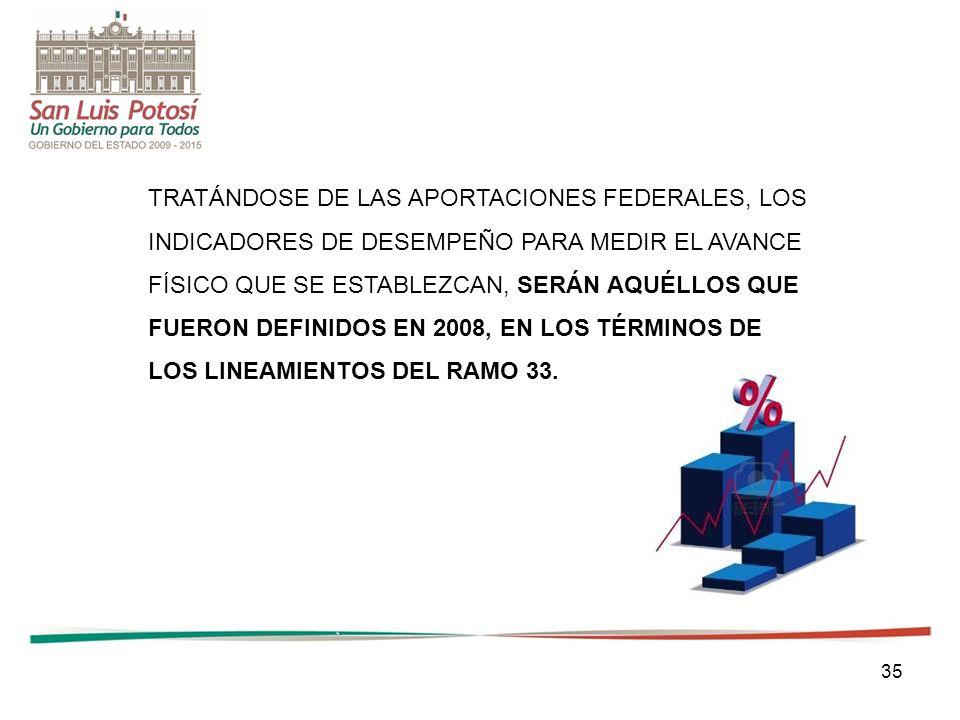 35 TRATÁNDOSE DE LAS APORTACIONES FEDERALES, LOS INDICADORES DE DESEMPEÑO PARA MEDIR EL AVANCE FÍSICO QUE SE ESTABLEZCAN, SERÁN AQUÉLLOS QUE FUERON DE