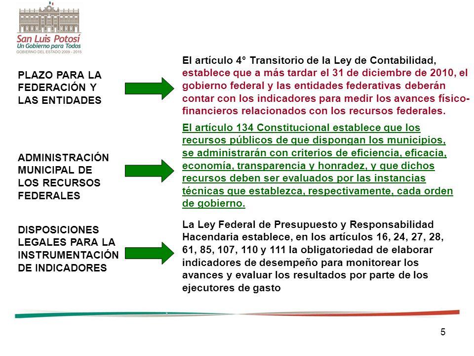 5 PLAZO PARA LA FEDERACIÓN Y LAS ENTIDADES ADMINISTRACIÓN MUNICIPAL DE LOS RECURSOS FEDERALES DISPOSICIONES LEGALES PARA LA INSTRUMENTACIÓN DE INDICAD