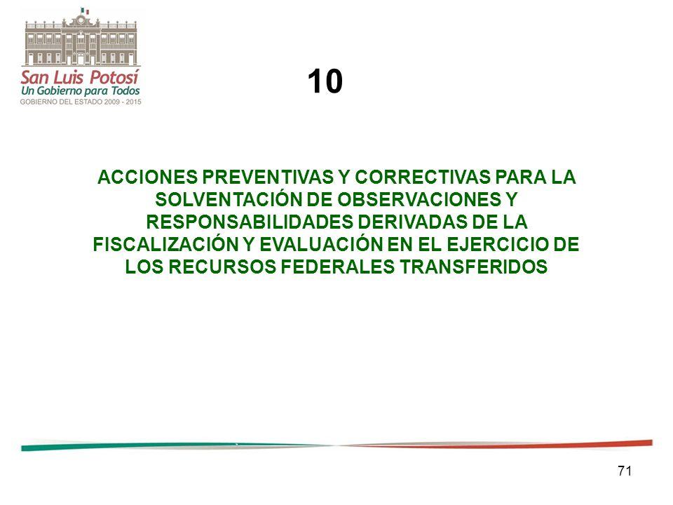 71 ACCIONES PREVENTIVAS Y CORRECTIVAS PARA LA SOLVENTACIÓN DE OBSERVACIONES Y RESPONSABILIDADES DERIVADAS DE LA FISCALIZACIÓN Y EVALUACIÓN EN EL EJERC