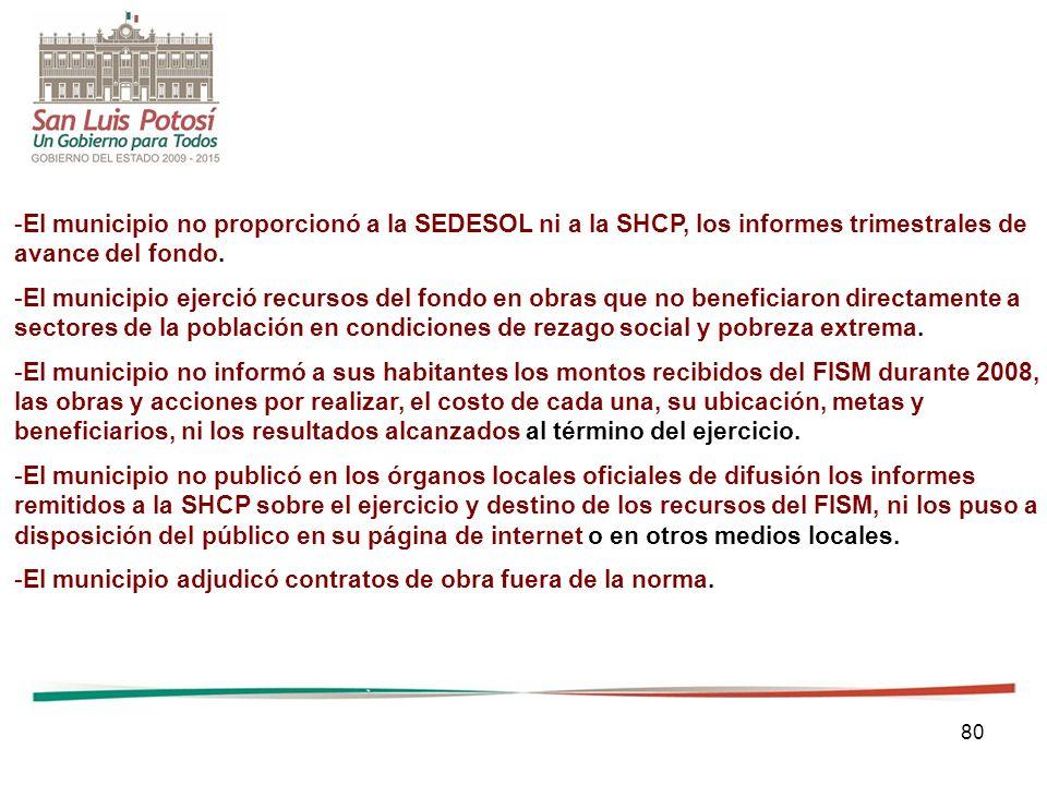 80 -El municipio no proporcionó a la SEDESOL ni a la SHCP, los informes trimestrales de avance del fondo. -El municipio ejerció recursos del fondo en