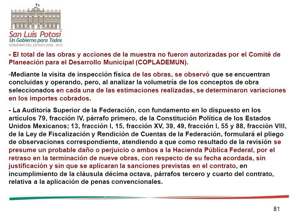 81 - El total de las obras y acciones de la muestra no fueron autorizadas por el Comité de Planeación para el Desarrollo Municipal (COPLADEMUN). -Medi