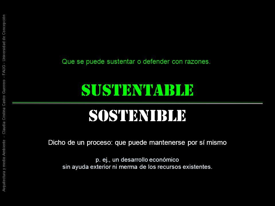 Arquitectura y medio Ambiente - Claudia Cristina Castro Guerrero - FAUG - Universidad de Concepción sustentable Sostenible Que se puede sustentar o defender con razones.