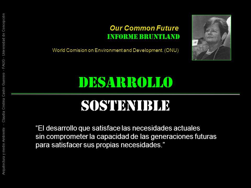Arquitectura y medio Ambiente - Claudia Cristina Castro Guerrero - FAUG - Universidad de Concepción desarrollo Sostenible El desarrollo que satisface las necesidades actuales sin comprometer la capacidad de las generaciones futuras para satisfacer sus propias necesidades.