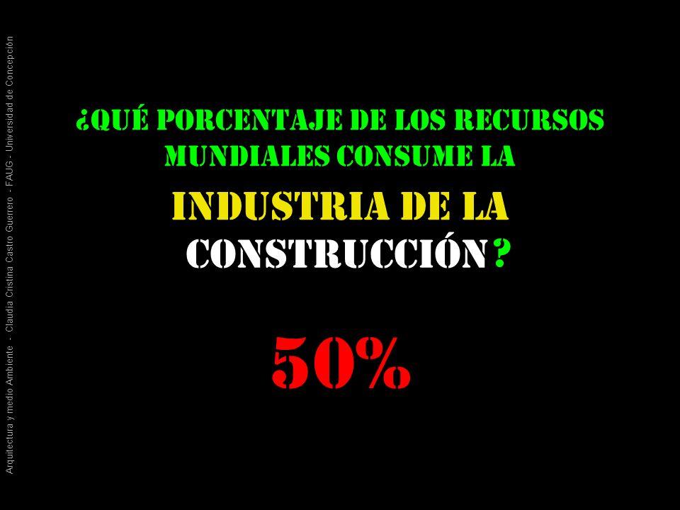 Arquitectura y medio Ambiente - Claudia Cristina Castro Guerrero - FAUG - Universidad de Concepción construcción Industria de la ¿qué porcentaje de los recursos mundiales consume la .