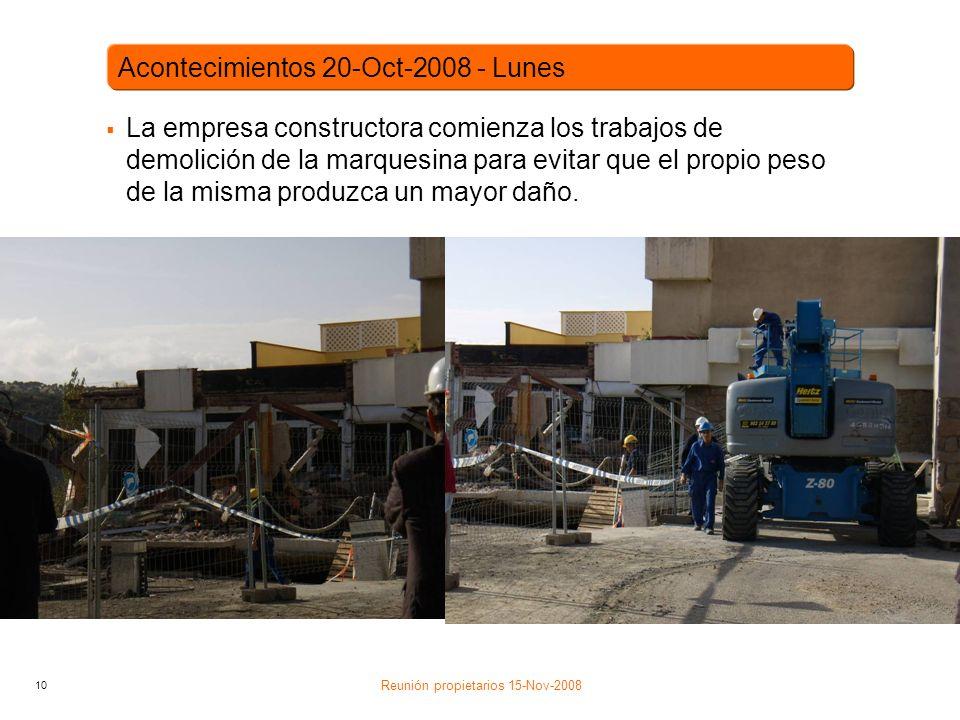 10 La empresa constructora comienza los trabajos de demolición de la marquesina para evitar que el propio peso de la misma produzca un mayor daño.