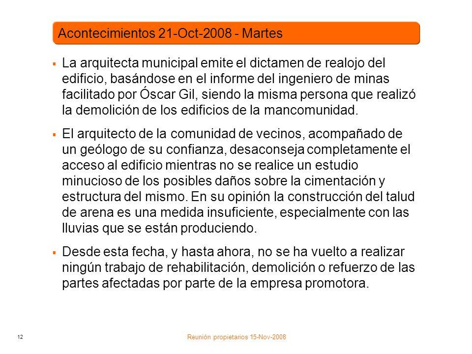 12 La arquitecta municipal emite el dictamen de realojo del edificio, basándose en el informe del ingeniero de minas facilitado por Óscar Gil, siendo la misma persona que realizó la demolición de los edificios de la mancomunidad.