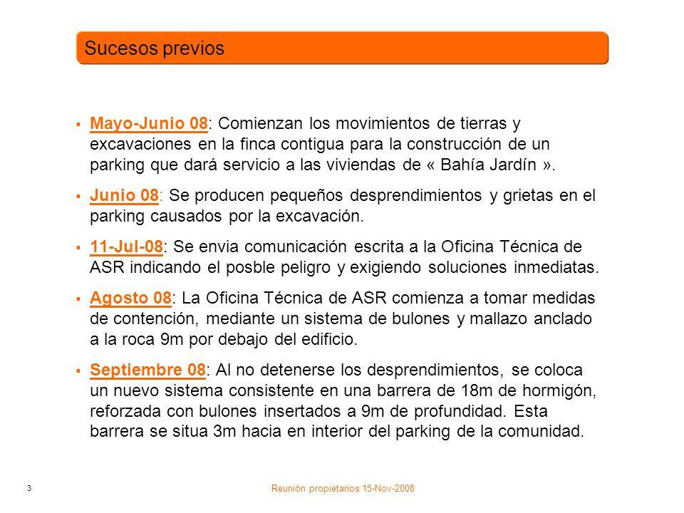 3 Mayo-Junio 08: Comienzan los movimientos de tierras y excavaciones en la finca contigua para la construcción de un parking que dará servicio a las viviendas de « Bahía Jardín ».