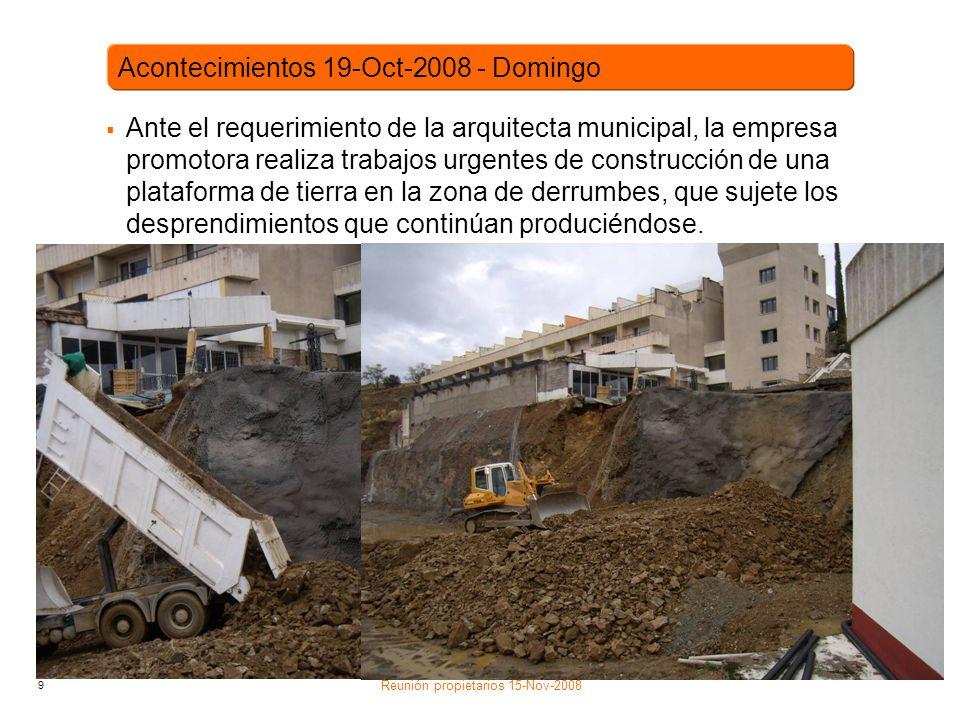 9 Ante el requerimiento de la arquitecta municipal, la empresa promotora realiza trabajos urgentes de construcción de una plataforma de tierra en la zona de derrumbes, que sujete los desprendimientos que continúan produciéndose.