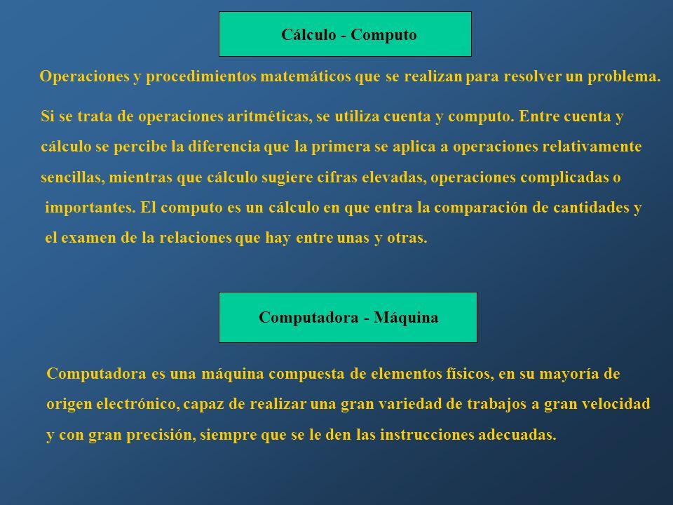 Cálculo - Computo Operaciones y procedimientos matemáticos que se realizan para resolver un problema. Si se trata de operaciones aritméticas, se utili