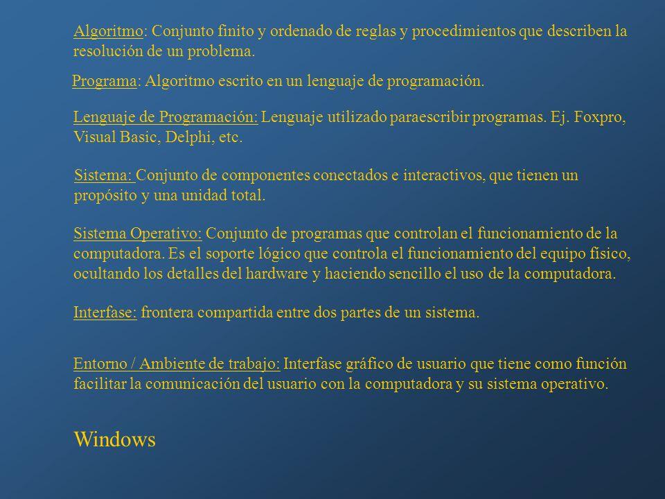 Algoritmo: Conjunto finito y ordenado de reglas y procedimientos que describen la resolución de un problema. Programa: Algoritmo escrito en un lenguaj