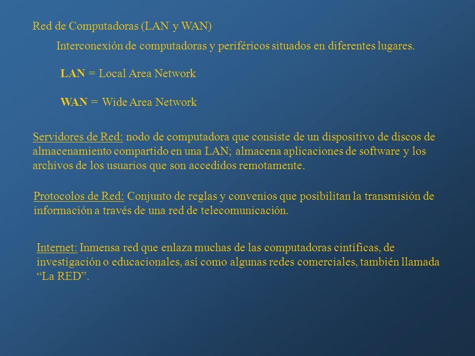 Red de Computadoras (LAN y WAN) Interconexión de computadoras y periféricos situados en diferentes lugares. LAN = Local Area Network WAN = Wide Area N