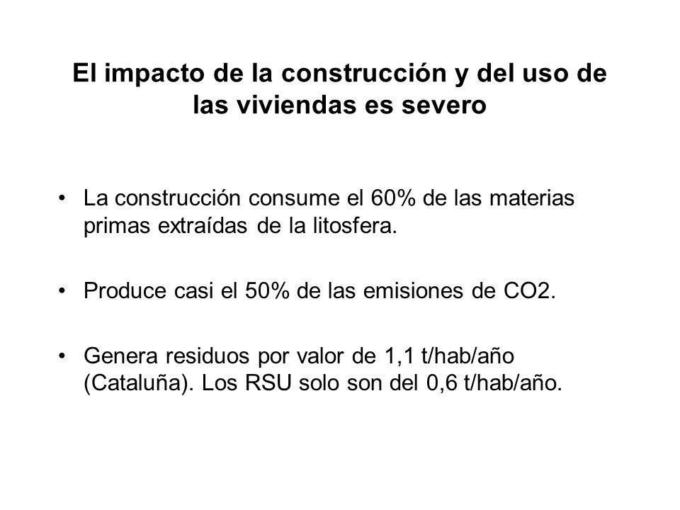 El impacto de la construcción y del uso de las viviendas es severo La construcción consume el 60% de las materias primas extraídas de la litosfera.