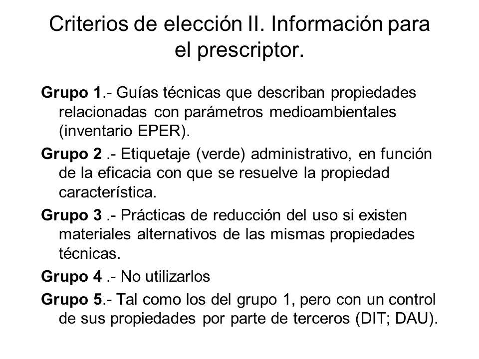 Criterios de elección II. Información para el prescriptor.