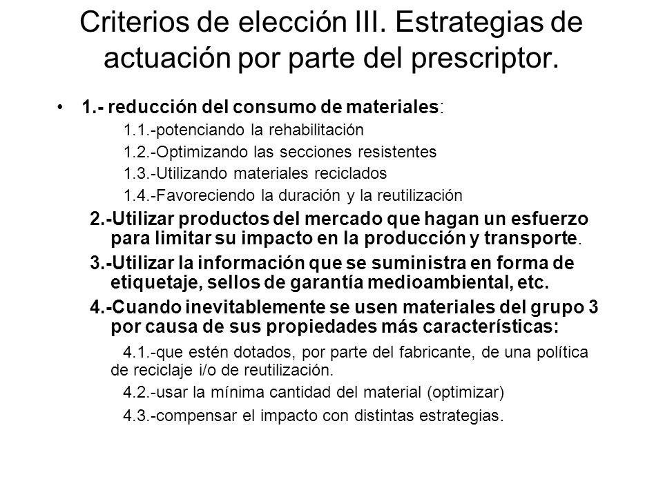 Criterios de elección III. Estrategias de actuación por parte del prescriptor.