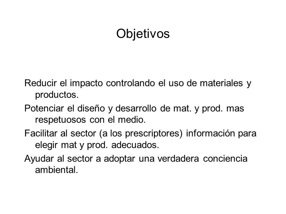 Objetivos Reducir el impacto controlando el uso de materiales y productos.