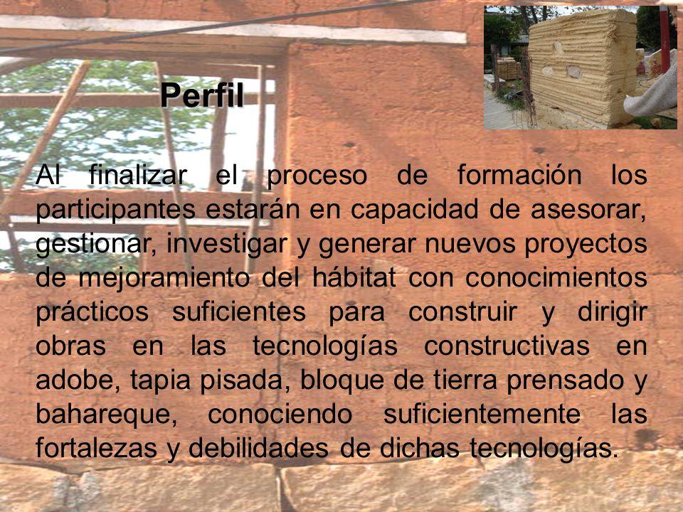 Equipo Docente El equipo docente básico encargado del proceso de formación está conformado por profesionales con experiencia en las áreas de la arquitectura en tierra, la ecología, la ingeniería y el derecho entre otros temas: LUCIA GARZÓN – Arquitecta CLARA ANGEL – Arquitecta PEDRO PABLO MENENDEZ – Arquitecto RUTH MIRIAM MORENO – Administradora Pública FERNANDO GUZMAN – Abogado CAMILO PHILLIPS – Ingeniero DANIEL RUIZ – Ingeniero CECILIA LÓPEZ – Arquitecta SANTIAGO CAMARGO – Arquitecto SANDRA VIVIANA MURILLO – Arquitecta