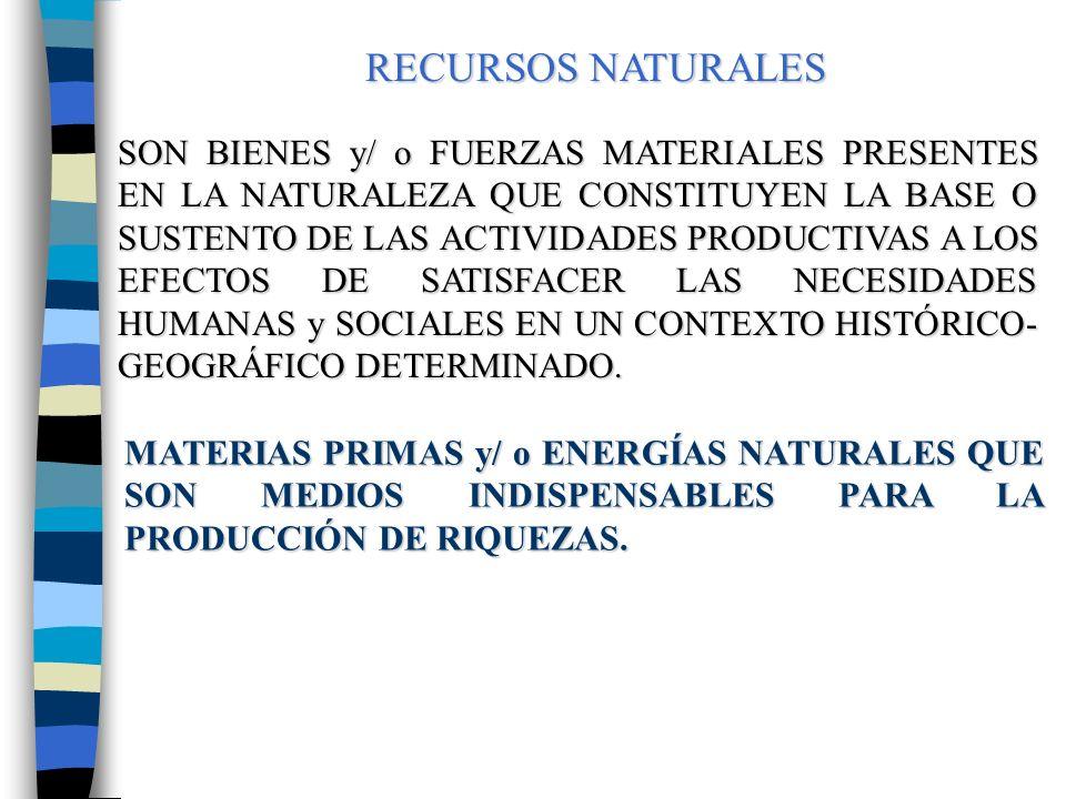RESERVAS NATURALES CONSTITUYEN UN STOCK DE BIENES Y/ O FUERZAS NATURALES DISPONIBLES EN UN TERRITORIO CONCRETO CON LOS QUE CUENTA UNA COMUNIDAD O NACIÓN A LOS EFECTOS DE SATISFACER NECESIDADES PRESENTES Y FUTURAS.