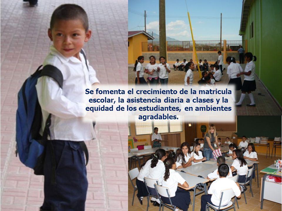 Se fomenta el crecimiento de la matricula escolar, la asistencia diaria a clases y la equidad de los estudiantes, en ambientes agradables.