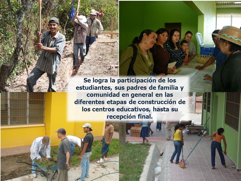 Se logra la participación de los estudiantes, sus padres de familia y comunidad en general en las diferentes etapas de construcción de los centros educativos, hasta su recepción final.