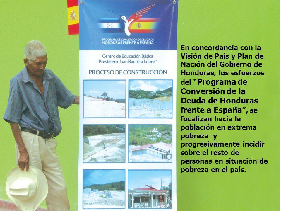 En concordancia con la Visión de País y Plan de Nación del Gobierno de Honduras, los esfuerzos del Programa de Conversión de la Deuda de Honduras frente a España, se focalizan hacia la población en extrema pobreza y progresivamente incidir sobre el resto de personas en situación de pobreza en el país.
