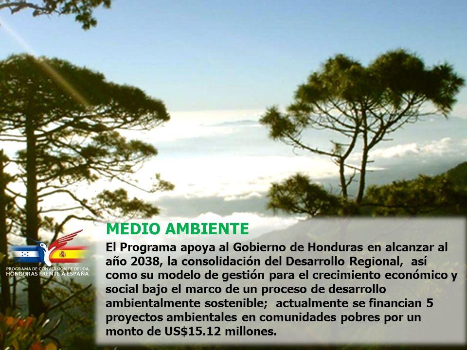 MEDIO AMBIENTE El Programa apoya al Gobierno de Honduras en alcanzar al año 2038, la consolidación del Desarrollo Regional, así como su modelo de gestión para el crecimiento económico y social bajo el marco de un proceso de desarrollo ambientalmente sostenible; actualmente se financian 5 proyectos ambientales en comunidades pobres por un monto de US$15.12 millones.