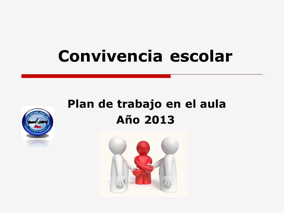 Convivencia escolar Plan de trabajo en el aula Año 2013
