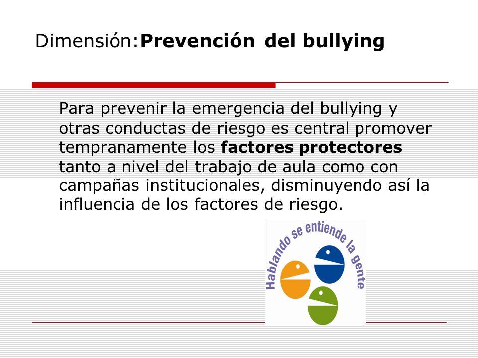 Dimensión:Prevención del bullying Para prevenir la emergencia del bullying y otras conductas de riesgo es central promover tempranamente los factores