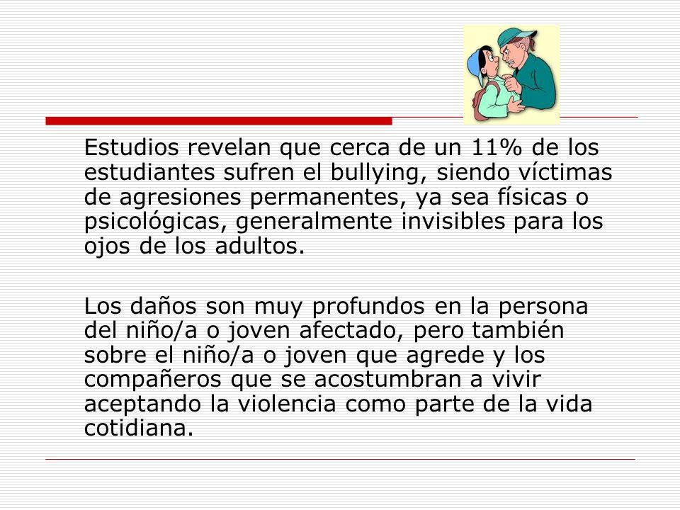 Estudios revelan que cerca de un 11% de los estudiantes sufren el bullying, siendo víctimas de agresiones permanentes, ya sea físicas o psicológicas,