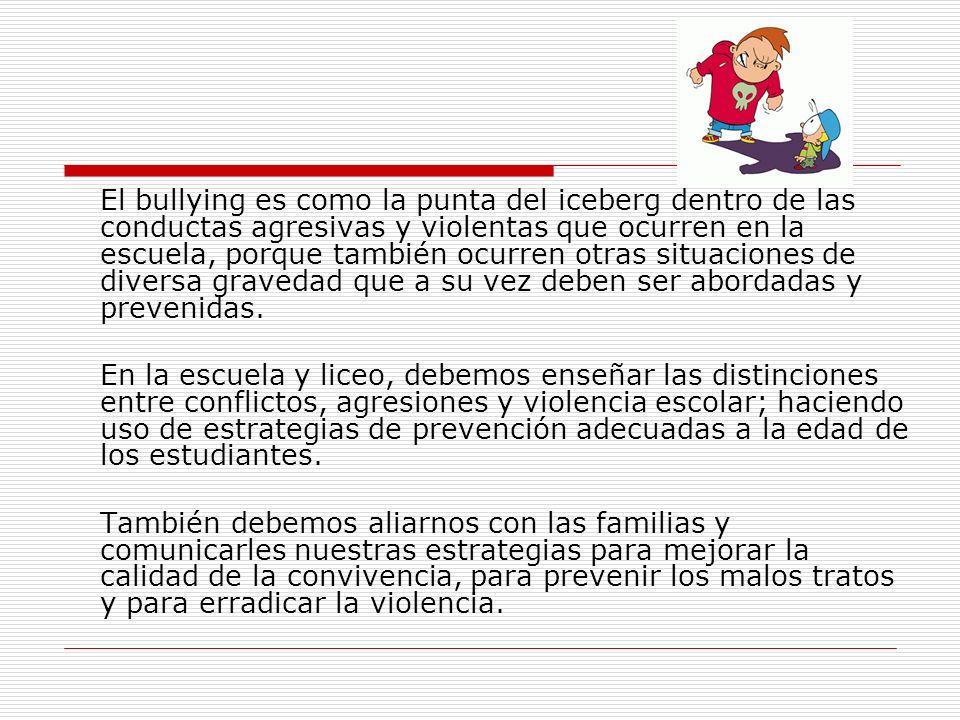 El bullying es como la punta del iceberg dentro de las conductas agresivas y violentas que ocurren en la escuela, porque también ocurren otras situaci
