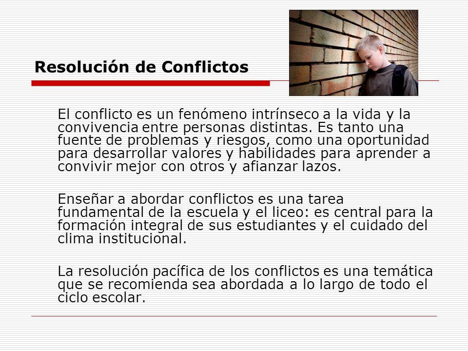 Resolución de Conflictos El conflicto es un fenómeno intrínseco a la vida y la convivencia entre personas distintas. Es tanto una fuente de problemas