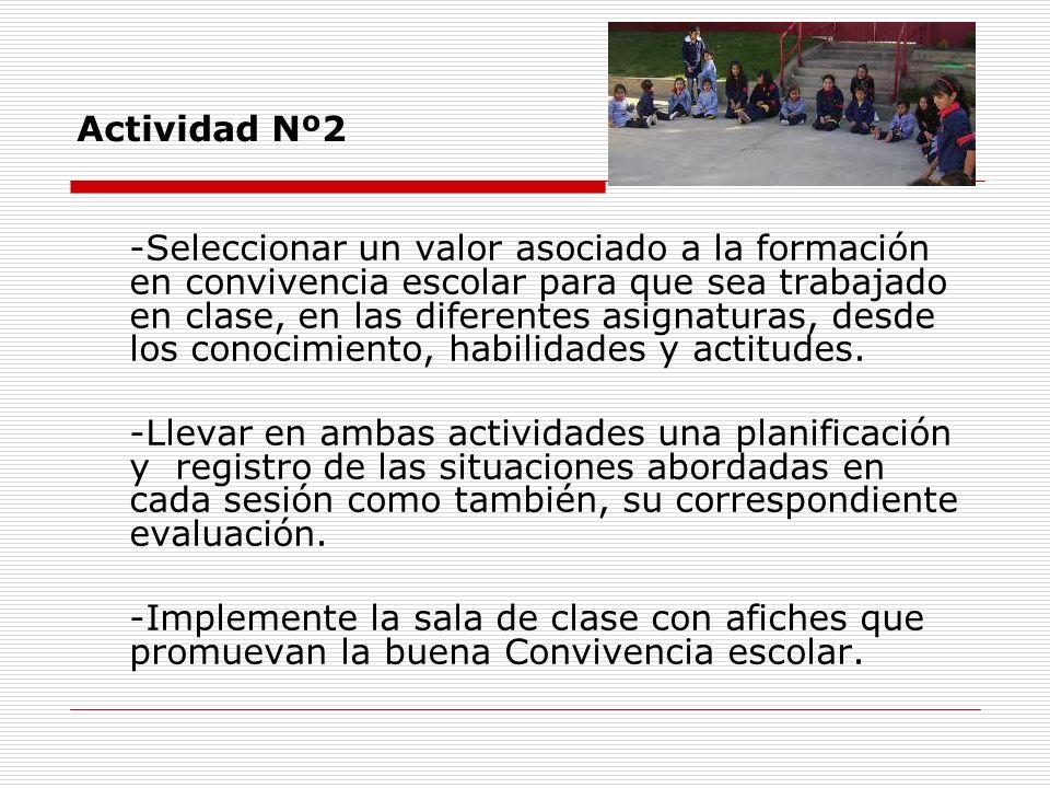 Actividad Nº2 -Seleccionar un valor asociado a la formación en convivencia escolar para que sea trabajado en clase, en las diferentes asignaturas, des