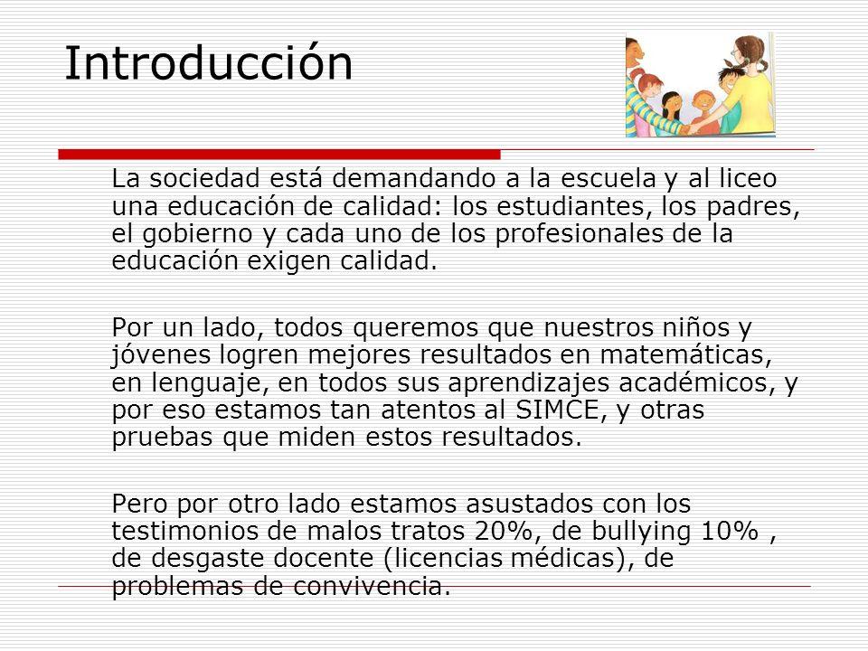 Introducción La sociedad está demandando a la escuela y al liceo una educación de calidad: los estudiantes, los padres, el gobierno y cada uno de los