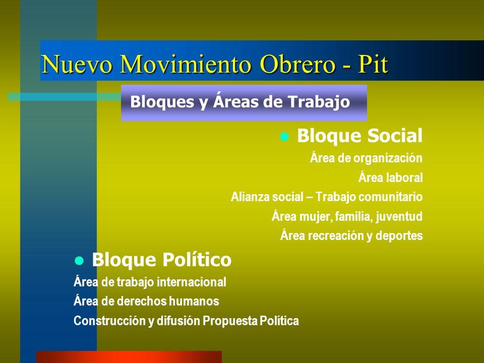 Nuevo Movimiento Obrero - Pit Bloque Social Área de organización Área laboral Alianza social – Trabajo comunitario Área mujer, familia, juventud Área