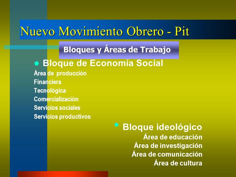 Nuevo Movimiento Obrero - Pit Bloque de Economía Social Área de producción Financiera Tecnológica Comercialización Servicios sociales Servicios produc