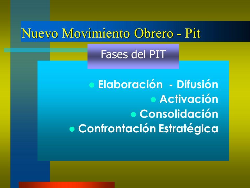Nuevo Movimiento Obrero - Pit Elaboración - Difusión Activación Consolidación Confrontación Estratégica Fases del PIT