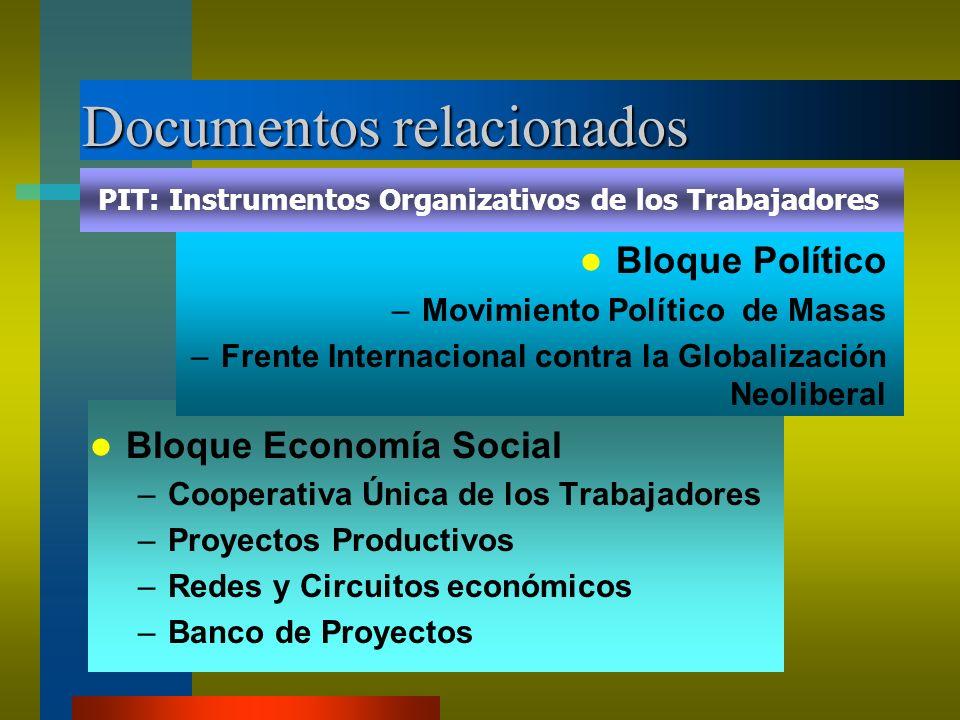 Documentos relacionados Bloque Político –Movimiento Político de Masas –Frente Internacional contra la Globalización Neoliberal Bloque Economía Social