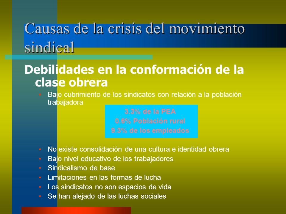 Causas de la crisis del movimiento sindical Debilidades en la conformación de la clase obrera Bajo cubrimiento de los sindicatos con relación a la pob