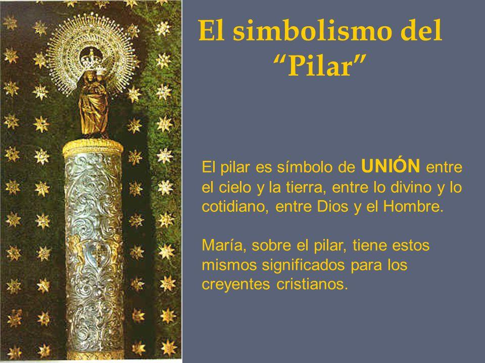 El simbolismo del Pilar El pilar es símbolo de UNIÓN entre el cielo y la tierra, entre lo divino y lo cotidiano, entre Dios y el Hombre. María, sobre