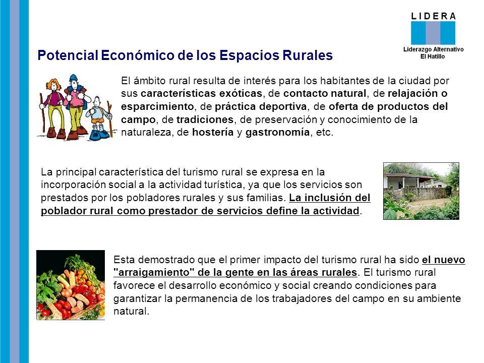 La principal característica del turismo rural se expresa en la incorporación social a la actividad turística, ya que los servicios son prestados por los pobladores rurales y sus familias.